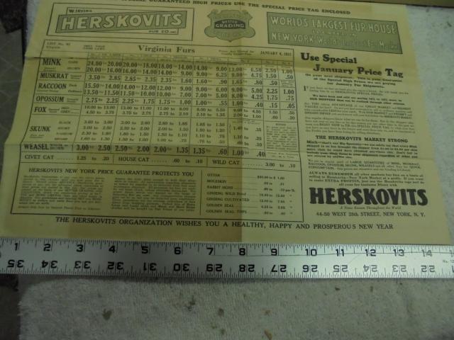 1927 Herskovits Fur Price List Tag Envelope F S Trap